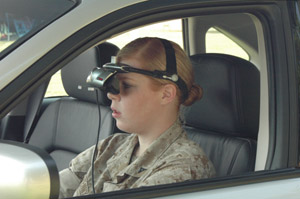 Marine behind the wheel of the Driving Simulator - goggles (HMD) head shot